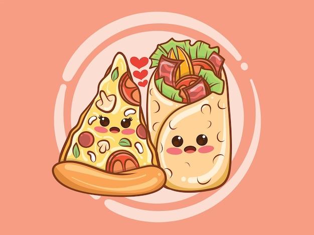 かわいいケバブとピザのスライスのカップルのコンセプト。漫画