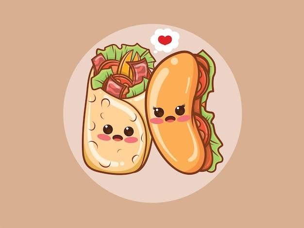 귀여운 케밥과 핫도그 커플 개념. 만화 캐릭터와 그림.