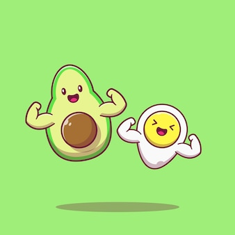 귀여운 케토 다이어트 캐릭터 아보카도와 삶은 계란 근육