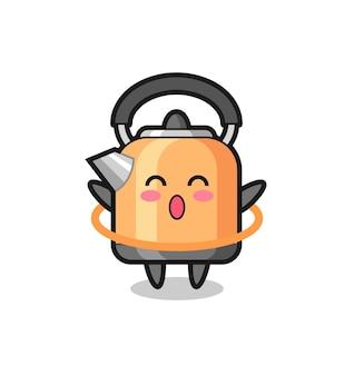 Cute kettle cartoon is playing hula hoop , cute style design for t shirt, sticker, logo element