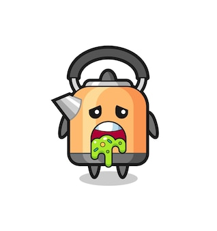 The cute kettle character with puke , cute style design for t shirt, sticker, logo element