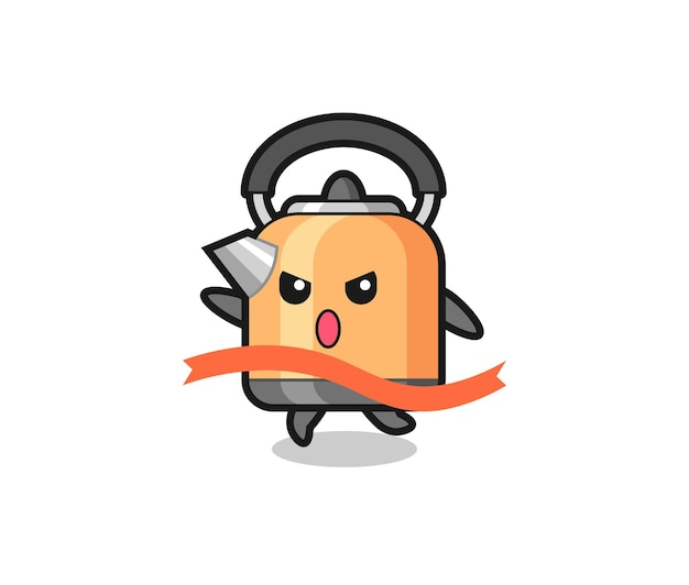 Cute kettle illustration is reaching the finish , cute style design for t shirt, sticker, logo element