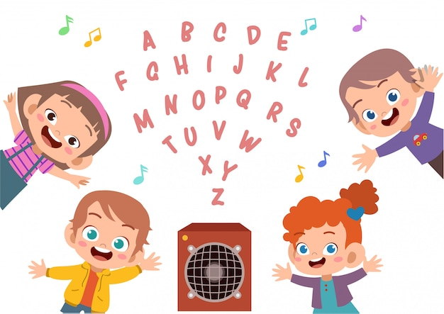 Cute kid alphabet set