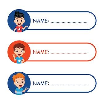 Симпатичные детские мальчик и девочка красочные именные бирки для школьников изолированы