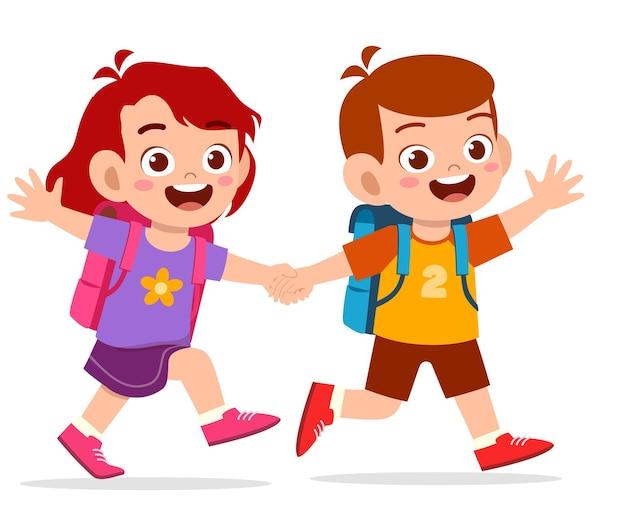 手をつないでかわいい子供の男の子と女の子と一緒に学校に行くイラスト