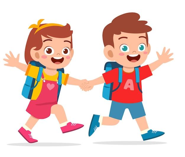 귀여운 꼬마 소년과 소녀 손을 잡고 함께 학교에가