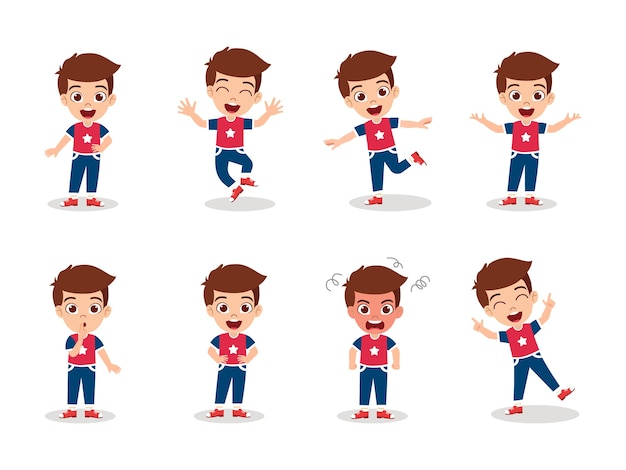 Cute kid boy character set isolated with different emotion expressions and actions