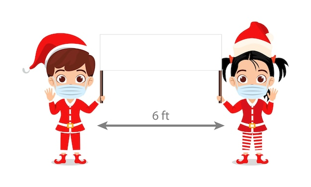 Cute kid boy and girl holding banner and wearing mask with distance merry charismas