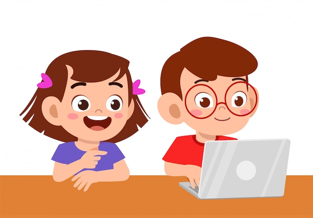 Cute kid boy and girl using laptop