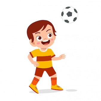 Cute kid boy play soccer as striker illustration