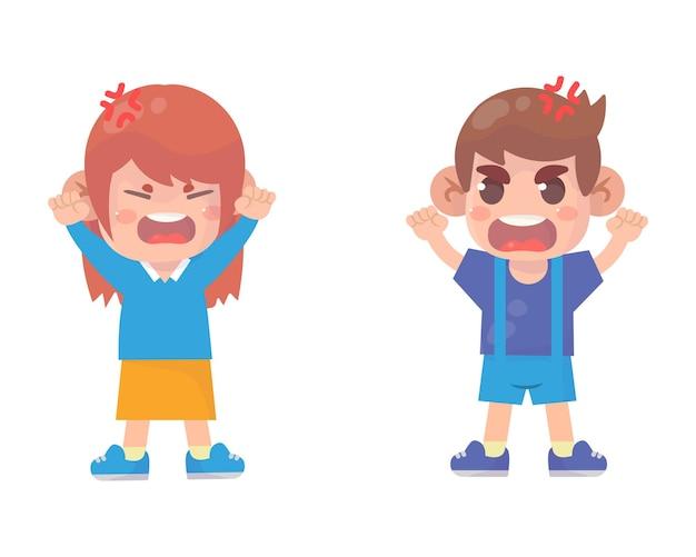 귀여운 소년 소년과 소녀는 서로 싸우고 논쟁합니다.