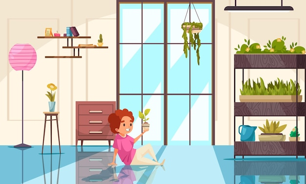 Cute kid character in cozy interior with houseplants looking at potted indoor plant flat illustration