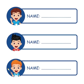 Симпатичные детские именные бирки для школы, изолированные на белом фоне