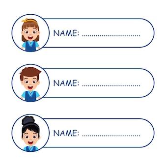Симпатичные детские именные бирки для школы изолированы