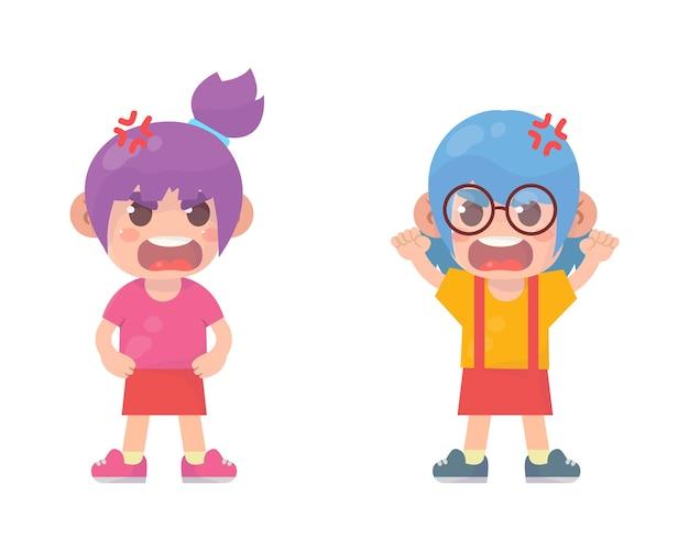 귀여운 꼬마 소녀가 싸우고 서로 논쟁하다