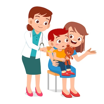 Cute kid go to doctor with mom