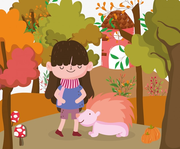 Cute kid hello autumn illustration