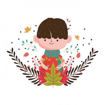 Cute kid hello autumn