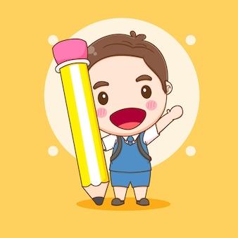 학교 개념 만화 삽화로 다시 큰 연필을 들고 있는 귀여운 아이