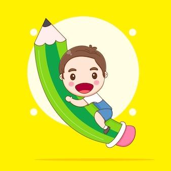 학교 개념 만화 삽화로 다시 큰 연필을 껴안고 있는 귀여운 아이