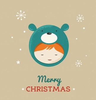 곰 크리스마스 의상에서 귀여운 꼬마입니다.