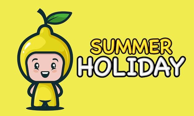 Милый ребенок в дизайне баннера летних каникул