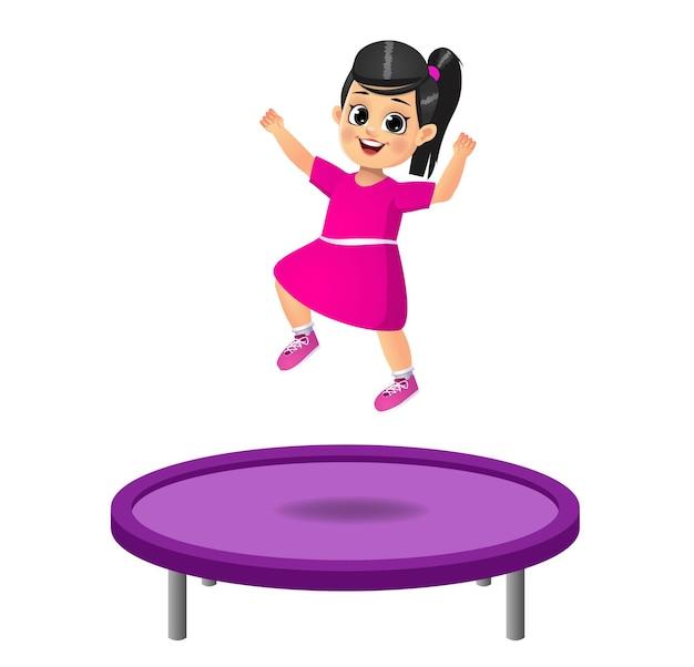 かわいい子供がトランポリンでジャンプします。孤立した