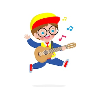 かわいい子供がギターを弾いてジャンプ