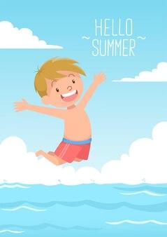 Милый ребенок прыгает плавать привет лето