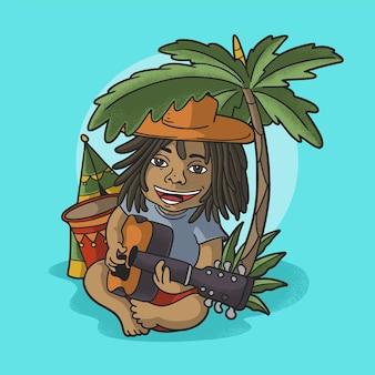 Милый ребенок играет на гитаре в векторе иллюстрации тропического пляжа