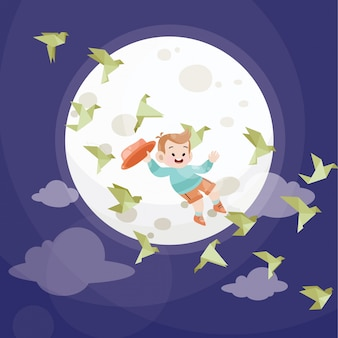 Cute kid play with stars and full moon
