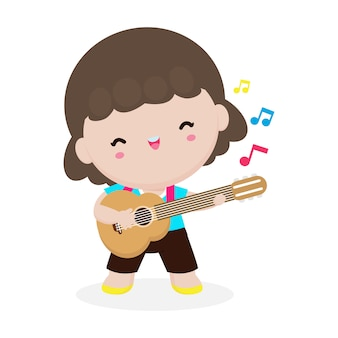 Cute kid playing guitar, happy children girl playing the guitar. musical performance. isolated vector illustration on white background. in cartoon style
