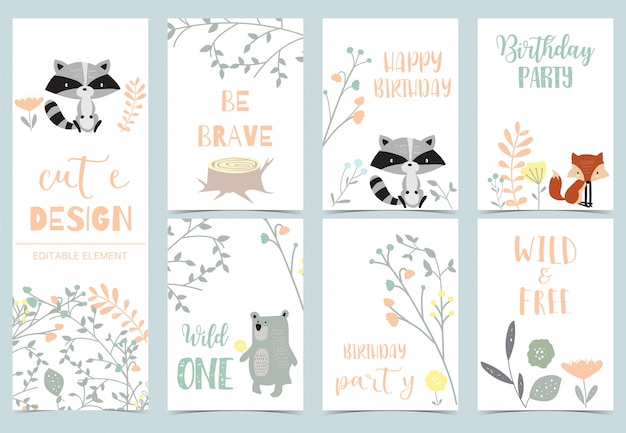 Cute kid postcards with jungle