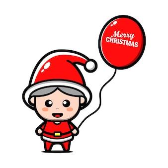 Милый ребенок санта-клаус держит шар мультфильм