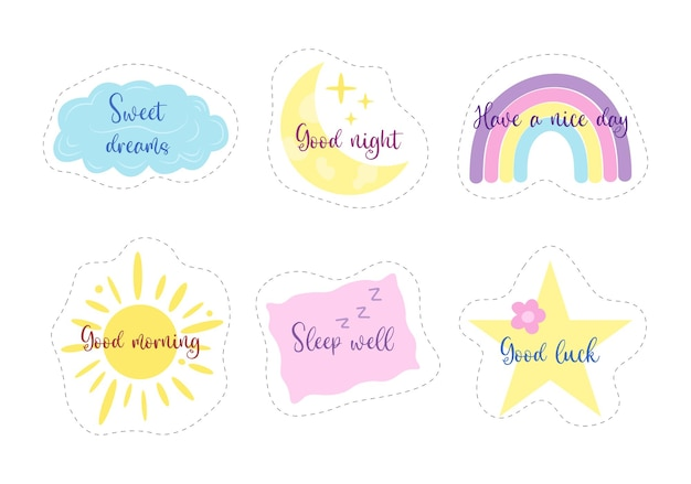 Cute kid stickers sweet dreams good night nursery elements for baby decor children posters