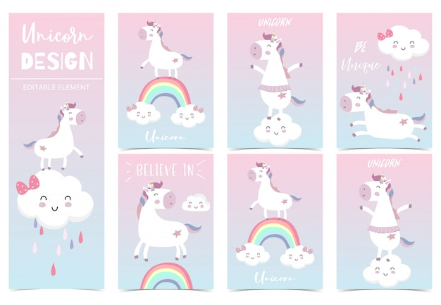 Cute kid unicorn, rainbow, pink, cloud for birthday invitation