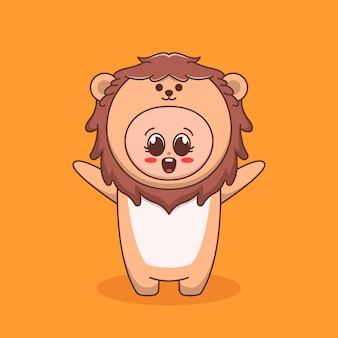Cute kid using lion costume illustration