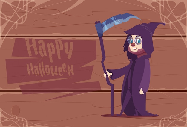 Cute kid wear death costume, happy halloween celebration concept