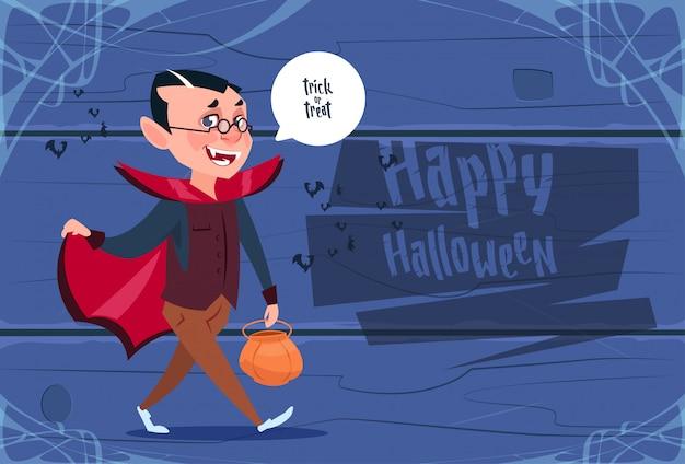 Cute kid wear dracula costume, happy halloween greeting card