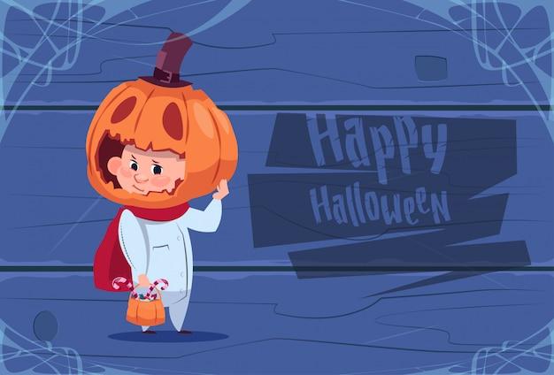 Cute kid wear scarecrow costume jack lantern happy halloween greeting card