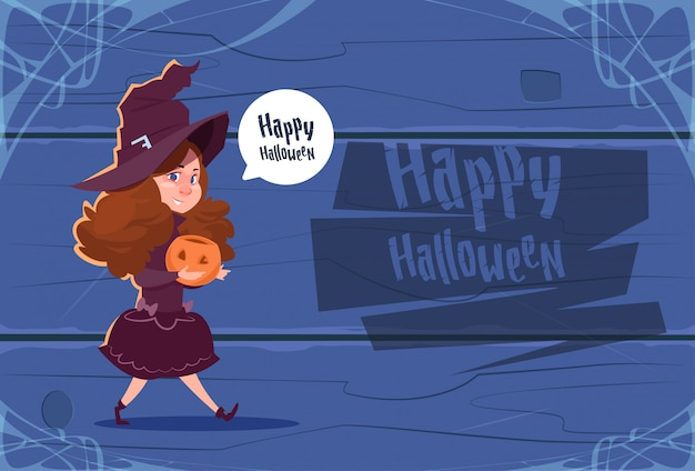 Cute kid wear witch costume, happy halloween greeting card