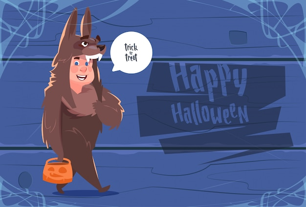 Cute kid wear wolf costume, happy halloween greeting card