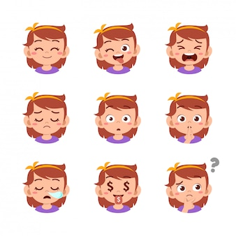 Cute kid with different face expressions