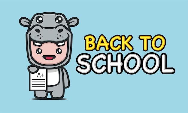 다시 학교 배너 디자인으로 하마 의상을 입은 귀여운 아이