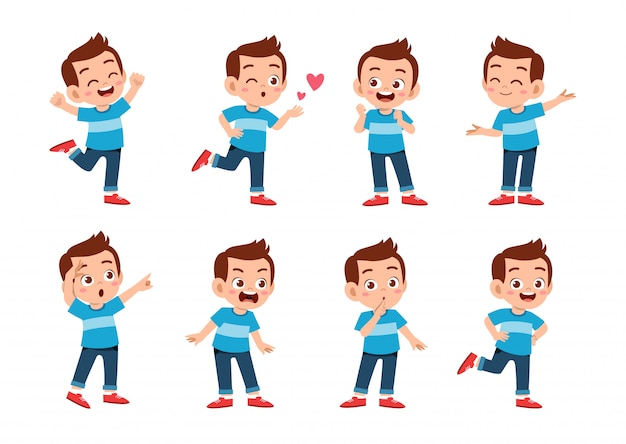 Cute kid with many gesture expressions
