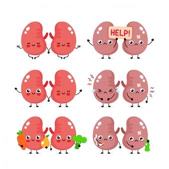 Cute kidneys set. healthy and unhealthy human organ.