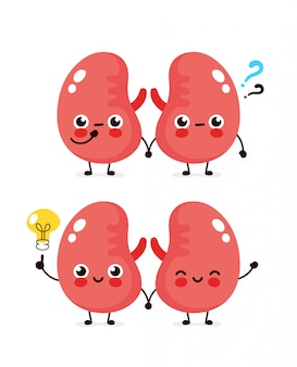 Cute kidneys with question mark and lightbulb character.  flat cartoon character illustration icon . isolated on white . kidneys have idea