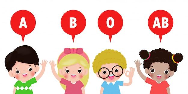 かわいい子供たちと血液型、白い背景イラストを分離した幸せな子供健康概念と血液型