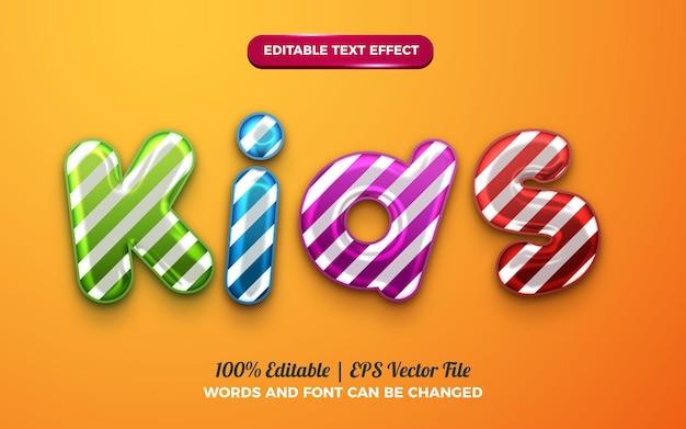 생일 축하를 위한 귀여운 키즈 baloon 3d 액체 편집 가능한 텍스트 효과