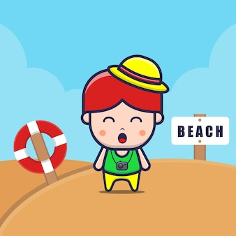 Cute kids on the beach cartoon illustration